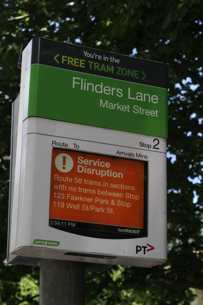 Route 58 service disruption notice on a TramTracker screen
