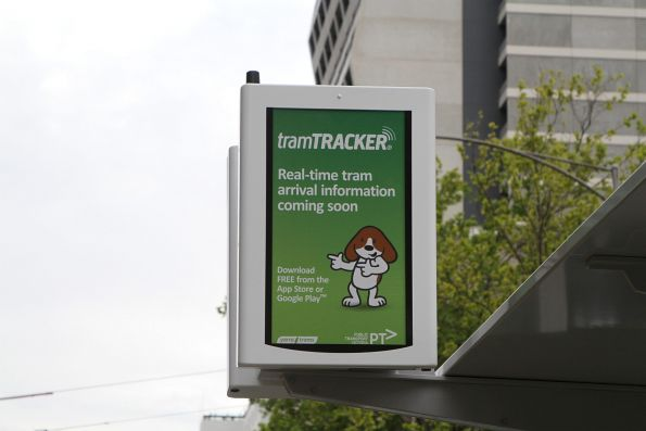 'Real time tram arrival information coming soon' sign at the new Flagstaff station platform stop at William and La Trobe Street