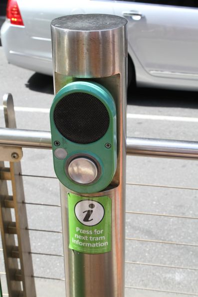 Next tram information button at a CBD tram stop