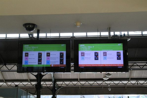 TramTracker screens at Flinders Street Station also using route colours