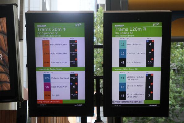 TramTracker screens at Southern Cross Station showing route 109a and 12a services that are still days away