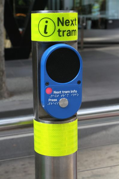 New style next tram information button at the Bourke and William Street tram stop