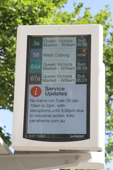 Sunday morning tram diversions down William Street being shown two days early