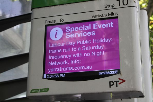 'Special event services' message only details the reduced Saturday timetable