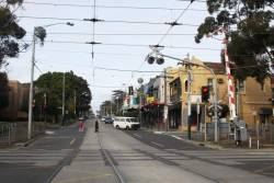 Looking south on Glenferrie Road over the Kooyong tramway square