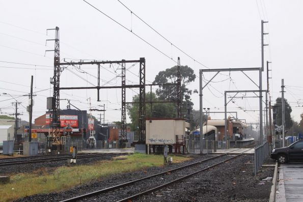 Looking down the line at Glenhuntly towards the tramway square
