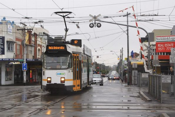 Citybound Z3.201 crosses the Glenhuntly tramway square