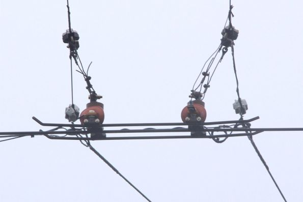 Overhead contractor switch at the Glenhuntly tramway square