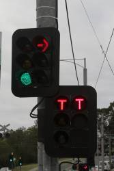 Two red 'T' lights at Gardiner station - one from the traffic light controller, the other from the signal box