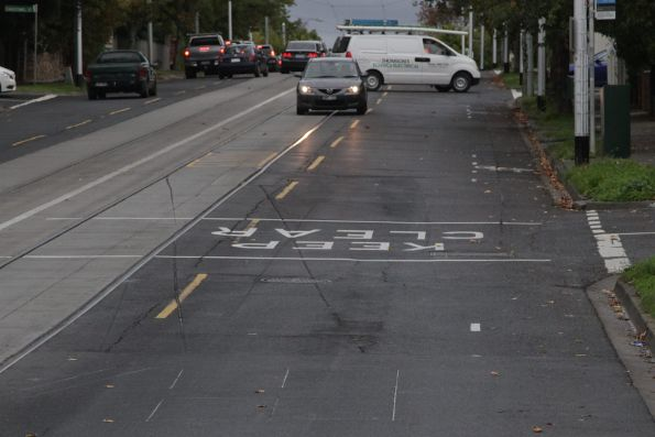 Gouge marks on the eastbound approach side of the Riversdale tram square