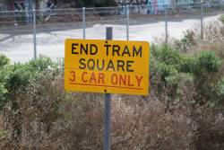 'End tram square - 3 car only' sign at the up end of Glenhuntly