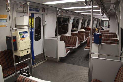 Interior of a non-refurbished 3100 class railcar