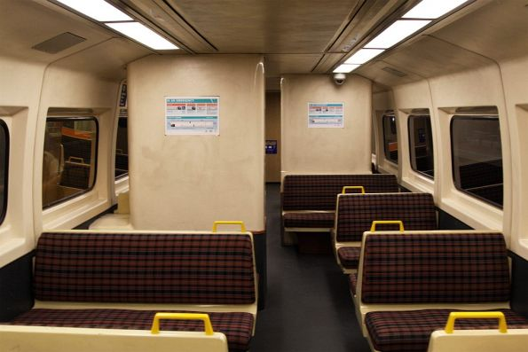 Interior of a non-refurbished 2000 class railcar