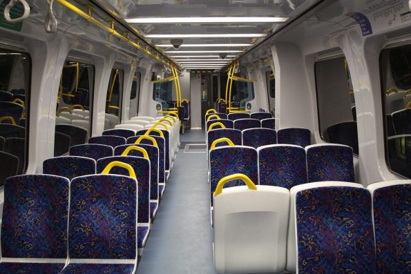 'A' end interior of a refurbished 3100 class railcar