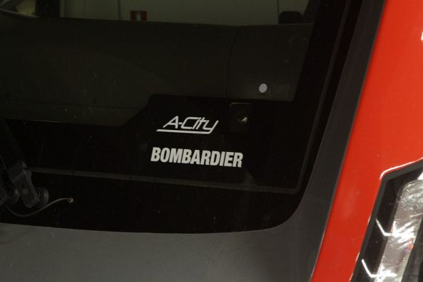 'A-City' and 'Bombardier' branding on the windscreen of the new trains