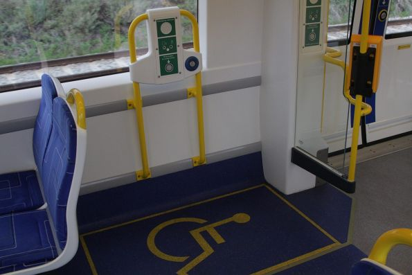One of three wheelchair spaces at the driver's end of an A-City train