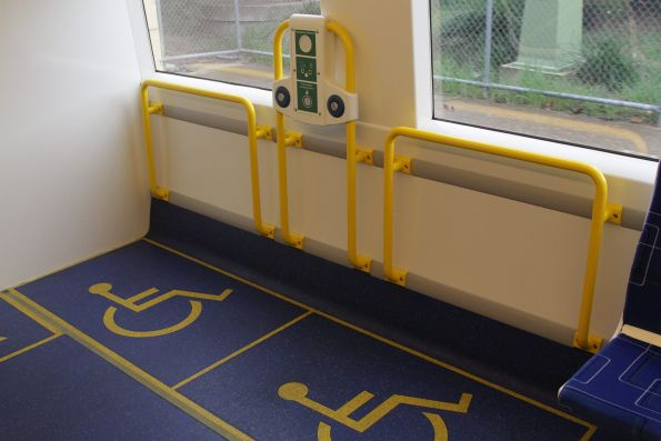 Other two wheelchair spaces at the driver's end of an A-City train