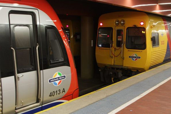 A-City 4013 in front of diesel classmate 3022 at Adelaide Railway Station