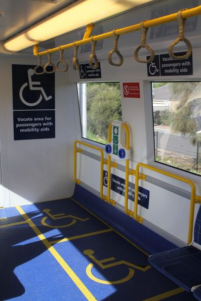 Wheelchair area onboard the cab end of an A-City EMU