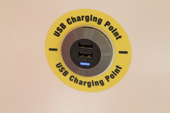 USB charging point onboard an A-City train