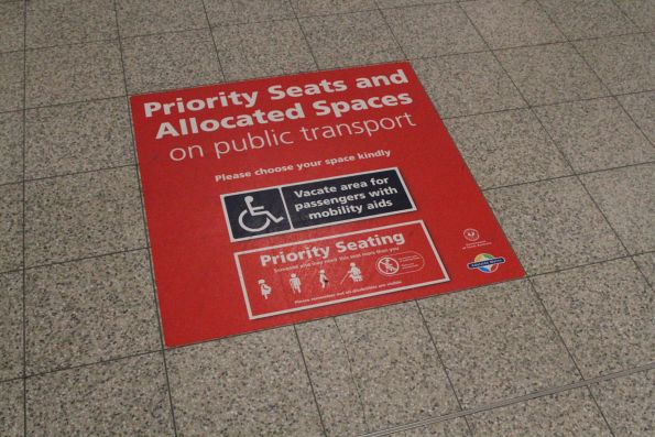 'Priority seats and allocated spaces' promotion at Adelaide station