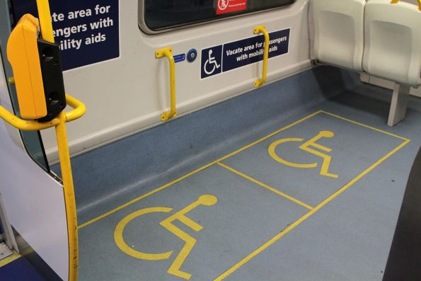 Area for passengers with mobility aids onboard a 3100 class railcar