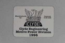 Clyde Engineering builders plate onboard railcar 3027