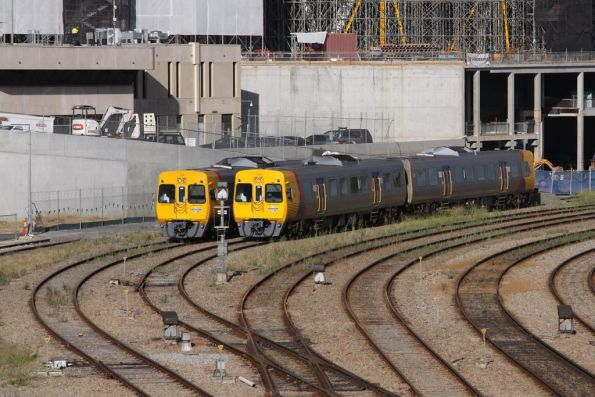 One 3000 class and 3100 class set stabled in Adelaide yard, outside the TransAdelaide signal control room