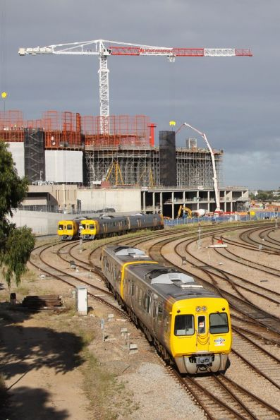 Comeng railcar passes construction work on the new SA Health and Research Institute
