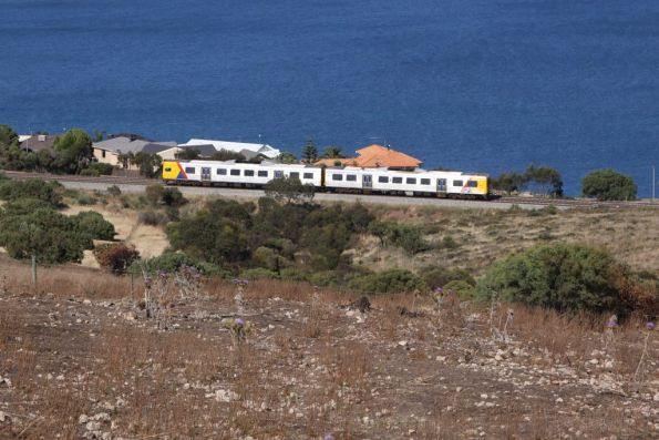 Pair of 3100 class run past waterfront houses at Hallet Cove