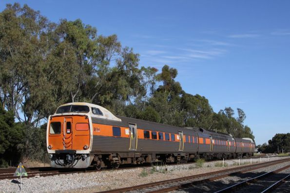 Jumbo 2108 leads a 3-car set into town at Torrens Junction