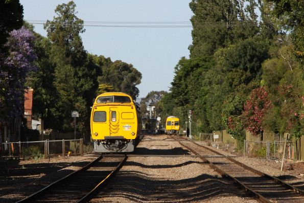 Up and down trains on the Noarlunga line pass at Emerson