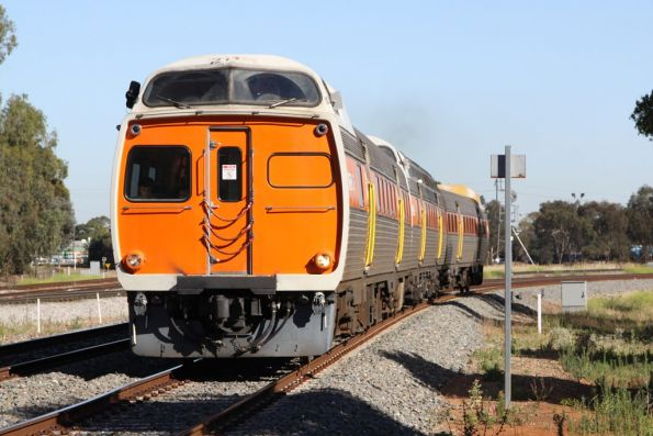 Jumbo 2110 leads a 3-car set into town at Torrens Junction