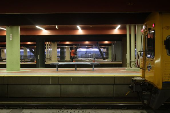 3000 class railcar awaiting departure time from Adelaide Railway Station