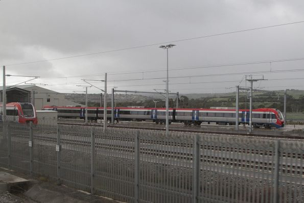 A-City trains 4012 and 4001 stabled in the yard at Seaford
