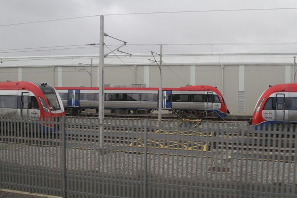 A-City trains 4006, 4005 and 4012 stabled in the yard at Seaford