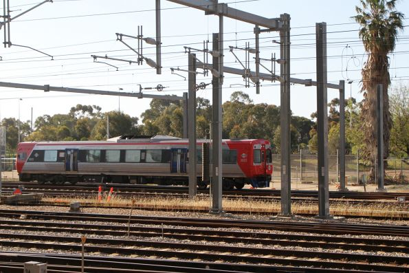 Single car railcar 3023 arrives into Adelaide station