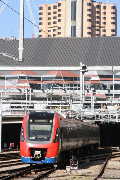 A-City 4001 departs Adelaide station for Seaford
