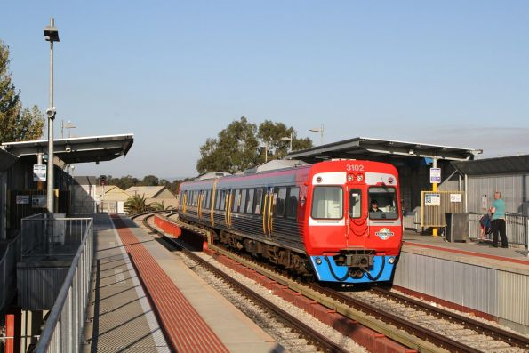 3102 arrives into Port Adelaide on a down Outer Harbor service