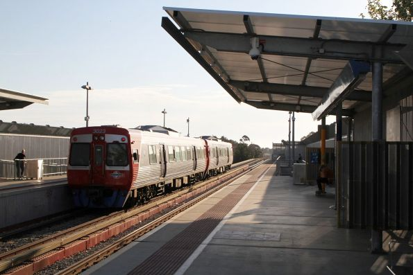 3020 and 3023 depart Port Adelaide on a down Outer Harbor service