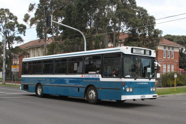 Kastoria high floor bus #6 1406AO heads north on route 219 along Hampshire Road, Sunshine