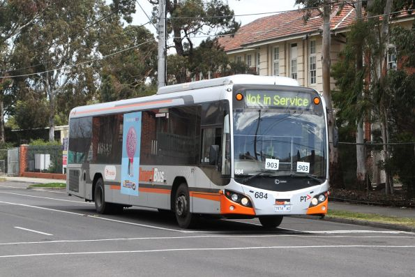 Transdev bus #684 7974AO on a route 903 service along Hampshire Road, Sunshine