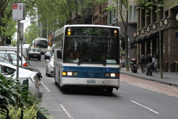 Kastoria bus #23 1423AO on route 232 turns from Queen into Collins Street