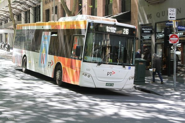 Transdev bus #100 BS00BH heads south on route 216 at Queen and Collins Street