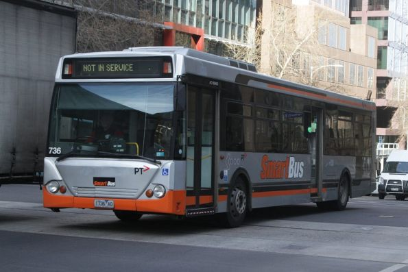 Transdev bus #736 rego 1736AO in Smartbus livery, with the former Ventura decals stripped off