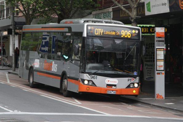 Transdev bus #961 rego 8046AO on route 906 at La Trobe and Swanston Streets