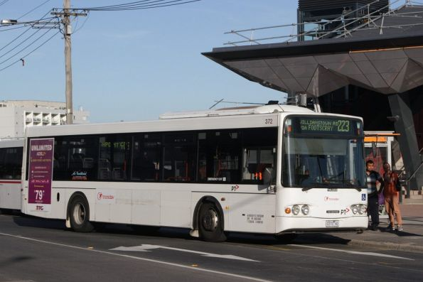 Bare liveried Transdev bus #372 rego 0372AO on a route 223 service in Footscray