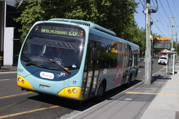 Transdev bus #597 rego 6861AO on route 286 stops at Blackburn station