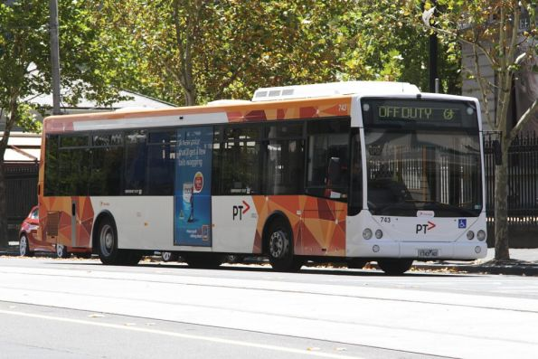 Transdev bus #743 rego 1743AO at La Trobe and William Streets