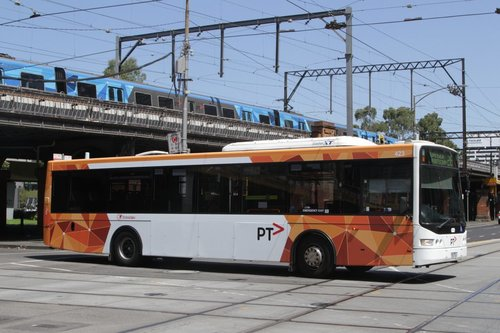 PTV liveried Transdev bus #423 rego 7523AO at William and Flinders Street